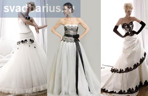 Черно-белые свадебные платья - шарм и строгость
