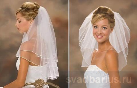 Прически на свадьбу с фатой   svadbarius.ru