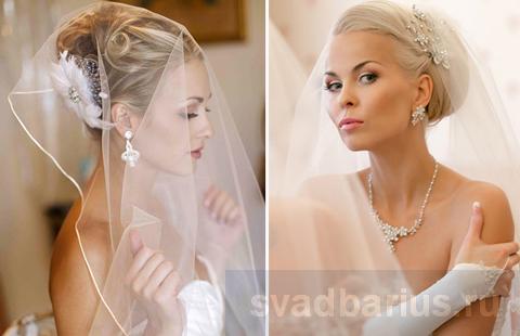 Причёски на свадьбу невесте с фатой